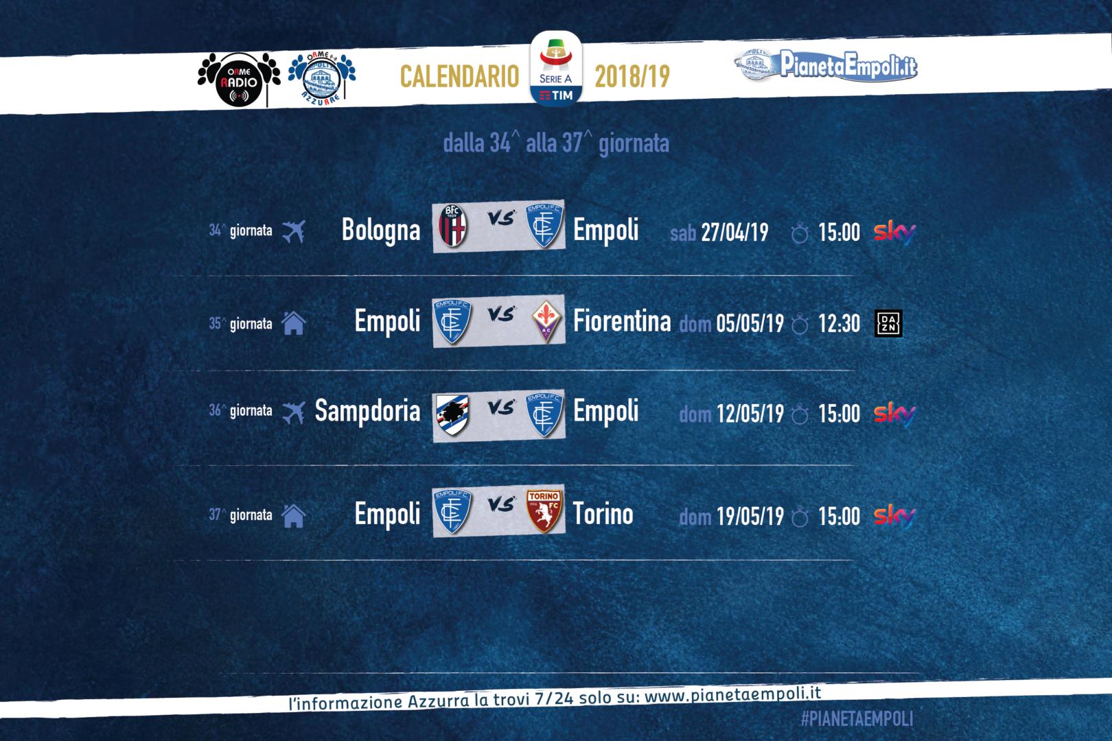 Calendario 18 Giornata Serie A.Serie A Anticipi E Posticipi Dalla 34 A Alla 37 A Giornata