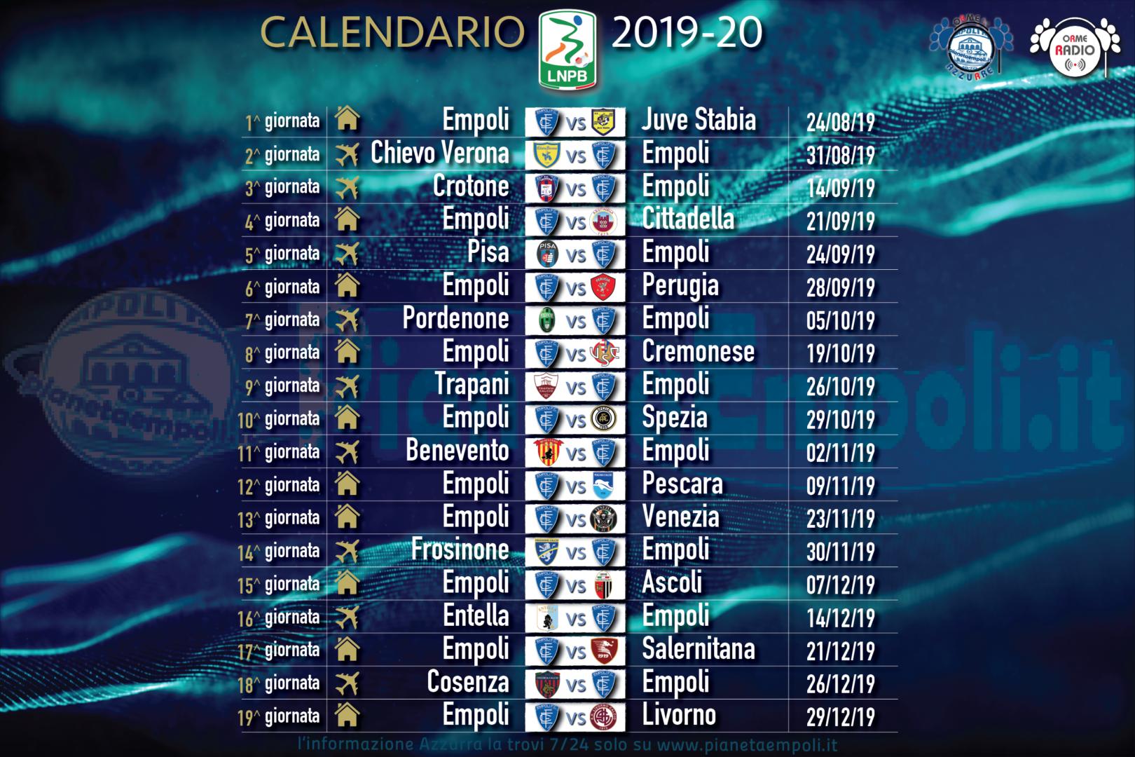 Calendario Partite Empoli.Serie B Il Calendario Completo Degli Azzurri Si Chiude A
